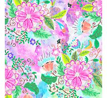 Colorful pink green watercolor hand painted floral Photographic Print