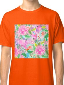 Colorful pink green watercolor hand painted floral Classic T-Shirt