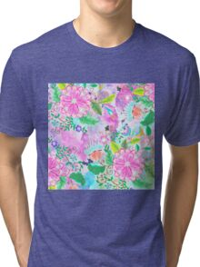 Colorful pink green watercolor hand painted floral Tri-blend T-Shirt