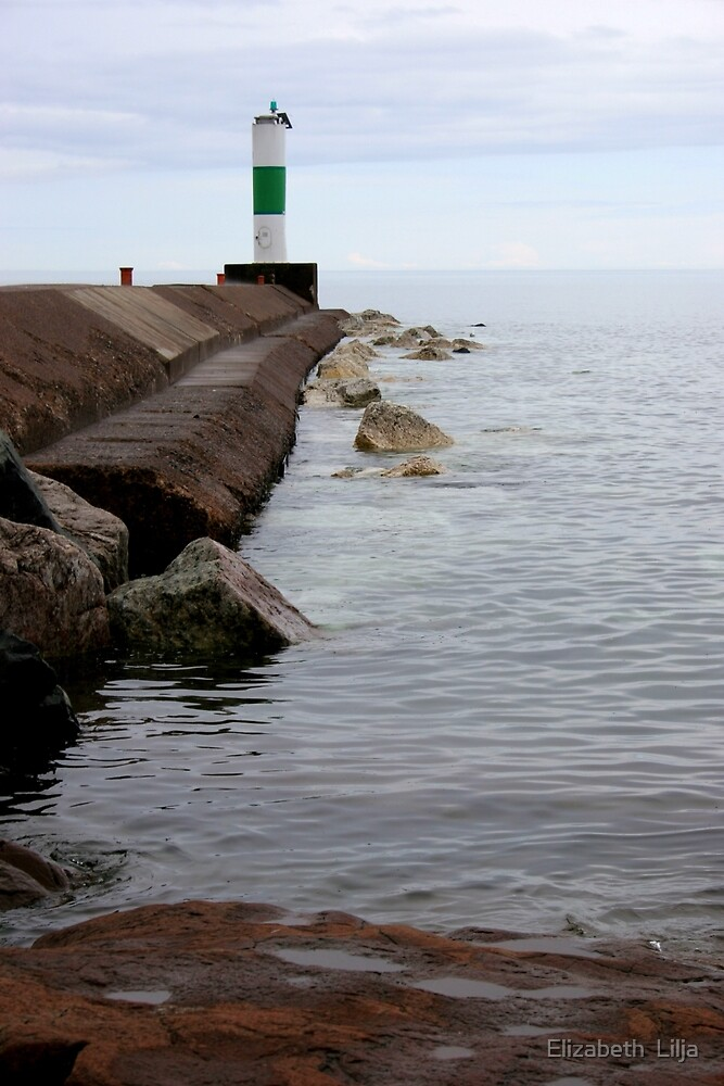 Light Beacon On Lake Superior by Elizabeth  Lilja