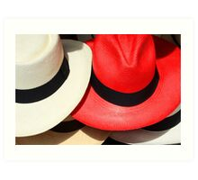 Red and White Hats Art Print
