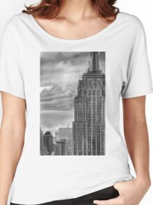 Empire State  Building New York Pencil Drawing Women's Relaxed Fit T-Shirt
