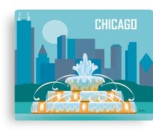 Chicago Buckingham Fountain - Skyline Illustration by Loose Petals Canvas Print