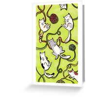 Yarn Cats on Green Greeting Card