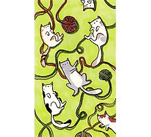 Yarn Cats on Green Photographic Print