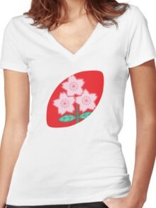 Rugby Japan Women's Fitted V-Neck T-Shirt