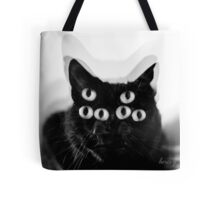 Trippy Black Cat Tote Bag