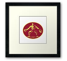Athlete Lifting Kettlebell Oval Woodcut Framed Print