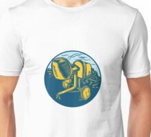 Concrete Mixer Circle Woodcut Unisex T-Shirt