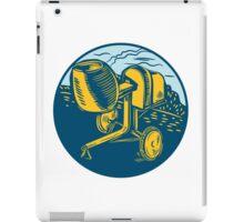 Concrete Mixer Circle Woodcut iPad Case/Skin