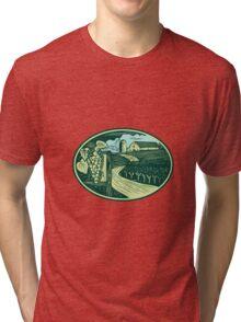 Grapes Vineyard Winery Oval Woodcut Tri-blend T-Shirt
