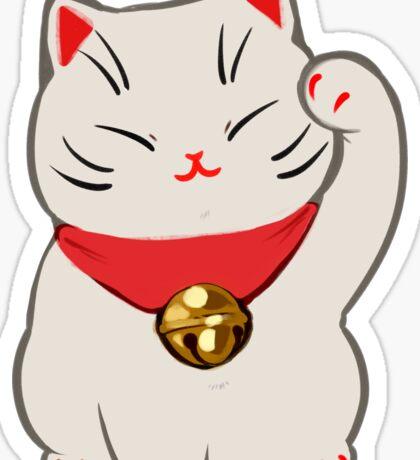 Beckoning Cat: White Sticker
