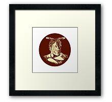 Maori Chieftain Head Oval Woodcut Framed Print