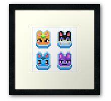 Animal Crossing pixel cats Framed Print