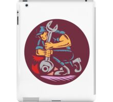 Mechanic Wrench Unscrewing Circle Woodcut iPad Case/Skin