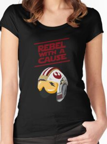 Star Wars - Rebel With a Cause  Women's Fitted Scoop T-Shirt