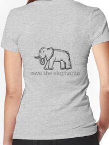 Save The Elephants Hand Drawn Women's Fitted V-Neck T-Shirt
