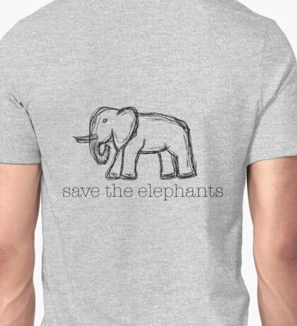 Save The Elephants Hand Drawn Unisex T-Shirt