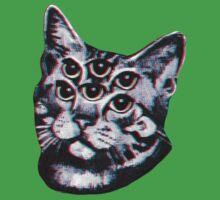 Psychedelic Cat (3D vintage effect) Kids Tee