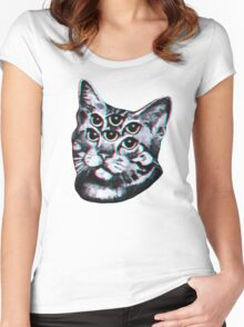 Psychedelic Cat (3D vintage effect) Women's Fitted Scoop T-Shirt