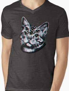 Psychedelic Cat (3D vintage effect) Mens V-Neck T-Shirt