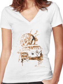 Volkswagen Kombi Splash Sepia © Women's Fitted V-Neck T-Shirt