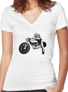 Dystopia Grand Prix Women's Fitted V-Neck T-Shirt