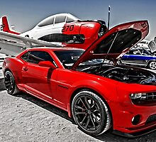New Chevy Camaro and Vintage Airplane  by Michael Moriarty