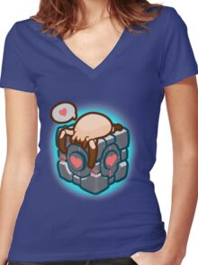 Match Made in Black Mesa Women's Fitted V-Neck T-Shirt