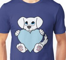 Valentine's Day White Dog with Light Blue Heart Unisex T-Shirt