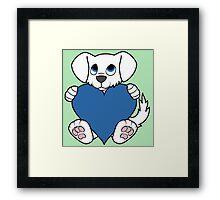 Valentine's Day White Dog with Blue Heart Framed Print