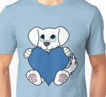 Valentine's Day White Dog with Blue Heart Unisex T-Shirt