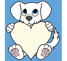 Valentine's Day White Dog with Cream Heart Photographic Print