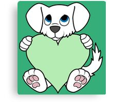 Valentine's Day White Dog with Light Green Heart Canvas Print