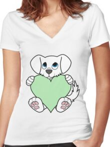 Valentine's Day White Dog with Light Green Heart Women's Fitted V-Neck T-Shirt
