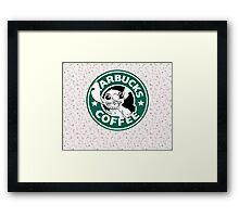 Stitch Floral Coffee Framed Print