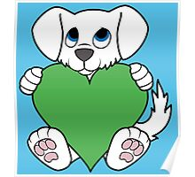 Valentine's Day White Dog with Green Heart Poster