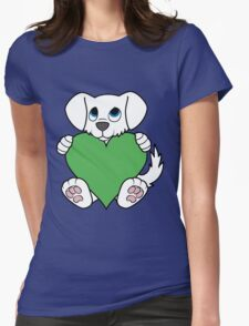 Valentine's Day White Dog with Green Heart Womens Fitted T-Shirt