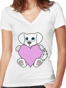 Valentine's Day White Dog with Light Pink Heart Women's Fitted V-Neck T-Shirt