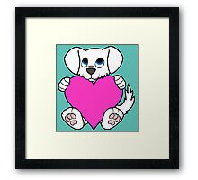 Valentine's Day White Dog with Pink Heart Framed Print