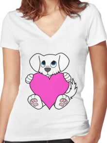 Valentine's Day White Dog with Pink Heart Women's Fitted V-Neck T-Shirt