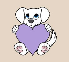 Valentine's Day White Dog with Light Purple Heart Unisex T-Shirt