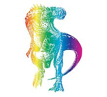 Rainbow Dinosaur: Party Rex Photographic Print