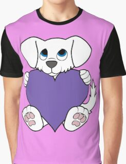 Valentine's Day White Dog with Purple Heart Graphic T-Shirt