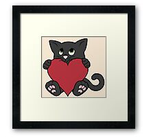 Valentine's Day Black Cat with Red Heart Framed Print