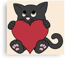 Valentine's Day Black Cat with Red Heart Canvas Print