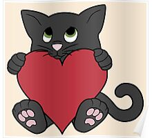 Valentine's Day Black Cat with Red Heart Poster