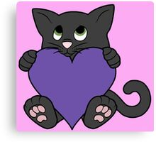 Valentine's Day Black Cat with Purple Heart Canvas Print