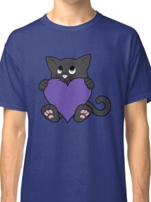 Valentine's Day Black Cat with Purple Heart Classic T-Shirt
