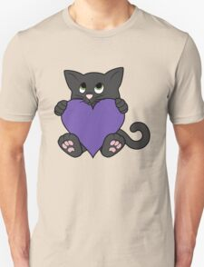 Valentine's Day Black Cat with Purple Heart Unisex T-Shirt